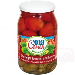 Ассорти огурцы и помидоры...